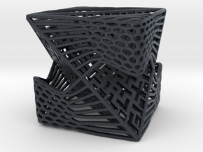 Tetrahedron inside Cube  in Black Professional Plastic