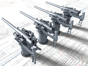 """1/128 Vickers 3-pdr 1.85""""/50 (47mm) x4 in Smooth Fine Detail Plastic"""
