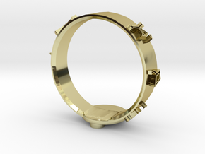Stargate Dial Home Ring (size Z) in 18k Gold Plated Brass