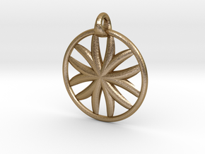 Flower of Life pendant type 1 in Polished Gold Steel