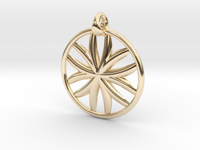 Flower of Life pendant type 1 in 14k Gold Plated Brass