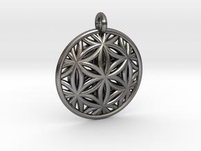 Flower of Life Pendant Type 2 in Polished Nickel Steel