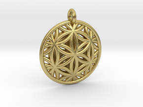 Flower of Life Pendant Type 2 in Natural Brass