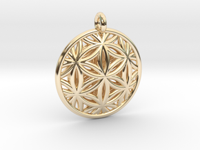 Flower of Life Pendant Type 2 in 14k Gold Plated Brass