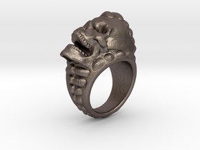 skull ring size 10.5 in Polished Bronzed-Silver Steel