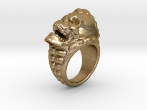 skull-ring-size 9 in Polished Gold Steel
