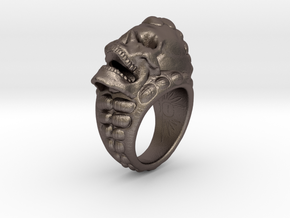 skull-ring-size 8.5 in Polished Bronzed-Silver Steel