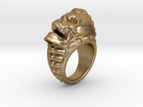 skull-ring-size 8.0 in Polished Gold Steel