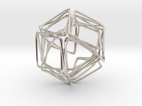 Looped Twisted Cuboctahedron in Rhodium Plated Brass