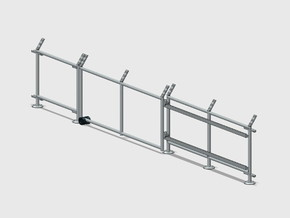 10' Chain-Link Fence - Sliding Gate - LS Latch in White Natural Versatile Plastic: 1:87 - HO