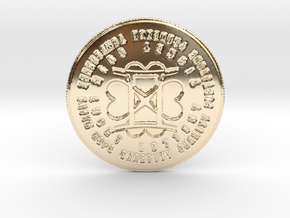 Gemini Coin of 7 Virtues in 14k Gold Plated Brass