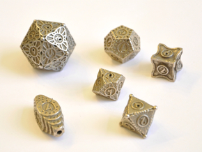 Art Deco Dice Set - Balanced in Polished Bronzed-Silver Steel