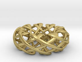 Counter rotating Torus with Celtic knots in Natural Brass