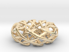 Counter rotating Torus with Celtic knots in 14k Gold Plated Brass