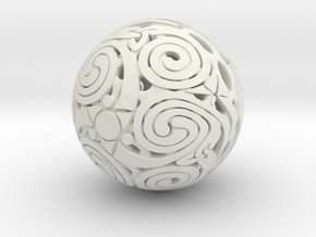 Triskelion sphere in White Natural Versatile Plastic