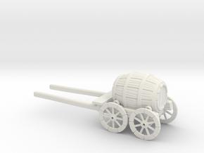 HO Scale Barrel Wagon in White Natural Versatile Plastic