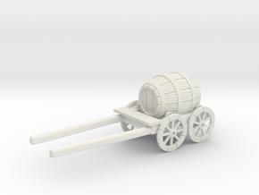 S Scale Barrel Wagon in White Natural Versatile Plastic