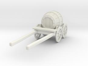 O Scale Barrel Wagon in White Natural Versatile Plastic