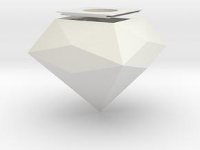 Diamond Light Bulb Case Lamp in White Natural Versatile Plastic