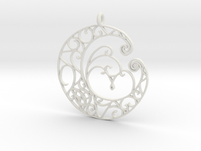 Celtic Wiccan Moon Pendant  in White Natural Versatile Plastic