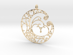 Celtic Wiccan Moon Pendant  in 14K Yellow Gold