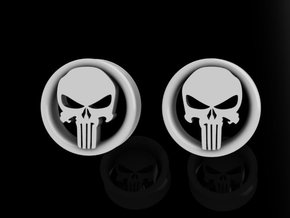 1 Inch Revenge Skull Plugs  in Smooth Fine Detail Plastic