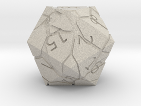 D20 Cracked Dice in Natural Sandstone