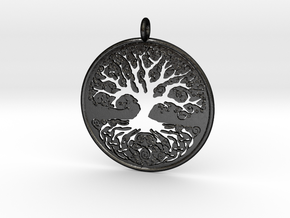 Celtic Knot Tree of life Pendant in Matte Black Steel