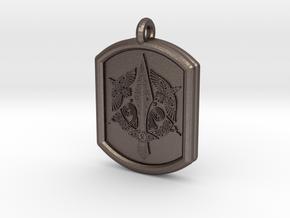 Celtic Triskelion Sword Pendant in Polished Bronzed-Silver Steel
