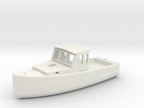 S Scale Fishing Boat in White Natural Versatile Plastic