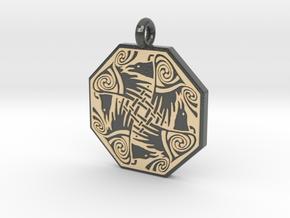 Nehalennia Celtic Octagon Raven Pendant in Glossy Full Color Sandstone