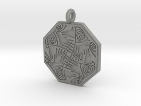 Nehalennia Celtic Octagon Raven Pendant in Gray PA12