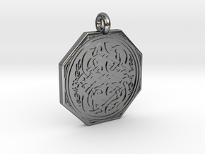 Celtic Serpent Octagonal Pendant in Polished Silver