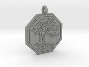 Sacred Tree of Life Octagon Pendant in Gray PA12