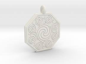 Celtic Spirals Octagonal Pendant in White Natural Versatile Plastic