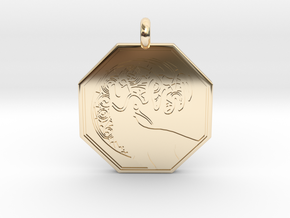 Stag - The Horned God Octagon Pendant in 14K Yellow Gold