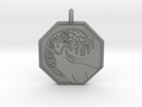 Stag - The Horned God Octagon Pendant in Gray Professional Plastic