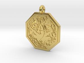 Dragon Octagonal Celtic Pendant in Polished Brass