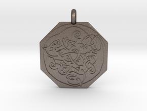 Cat Celtic Octagonal Pendant in Polished Bronzed-Silver Steel