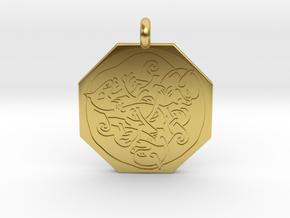 Cat Celtic Octagonal Pendant in Polished Brass