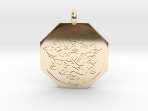 Cat Celtic Octagonal Pendant in 14k Gold Plated Brass