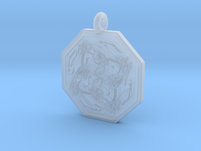 Hare Celtic  Octagon Pendant  in Smooth Fine Detail Plastic