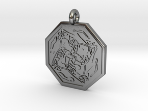 Hare Celtic Octagon Pendant in Polished Silver