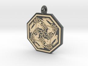 Hare Celtic Octagon Pendant in Glossy Full Color Sandstone