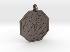 Celtic Heart Octagon Pendant in Polished Bronzed-Silver Steel