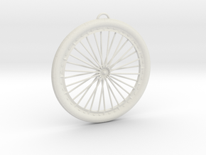 Bicycle Wheel Pendant Big in White Premium Versatile Plastic
