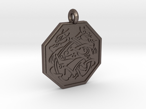 Cat Celtic Octogon Pendant in Polished Bronzed-Silver Steel