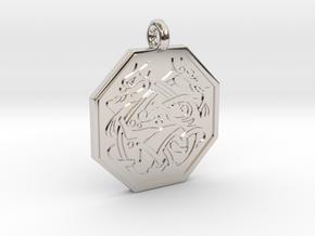 Cat Celtic Octogon Pendant in Rhodium Plated Brass