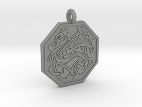 Cat Celtic Octogon Pendant in Gray PA12