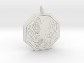 Birds Celtic Octogonal Pendant in White Natural Versatile Plastic